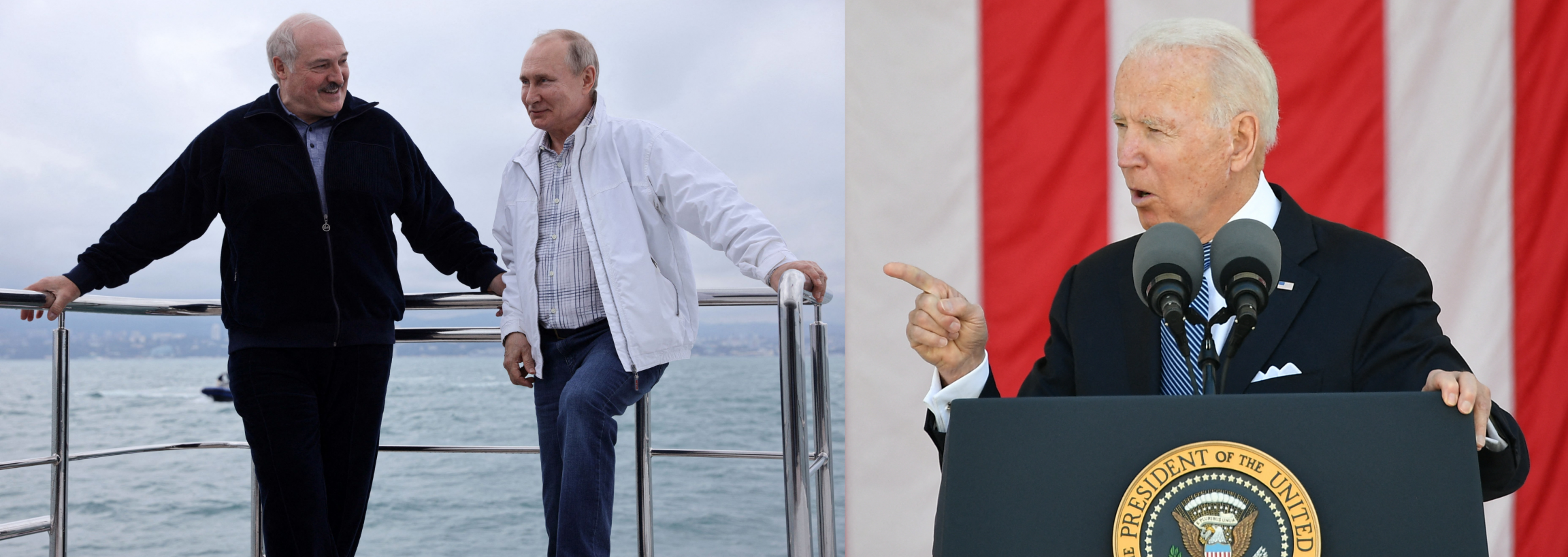 On the left, a photo of Alexander Lukashenko standing and talking with Vladimir Putin. On the right, a photo of Joe Biden at a podium.