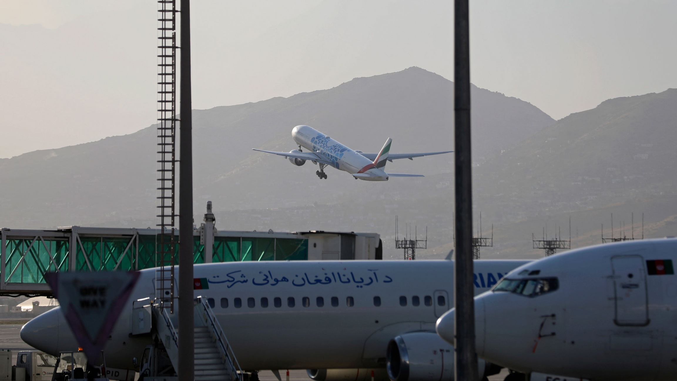 A plane takes off from Hamid Karzai International Airport in Kabul, Afghanistan, Sunday, July 4, 2021.