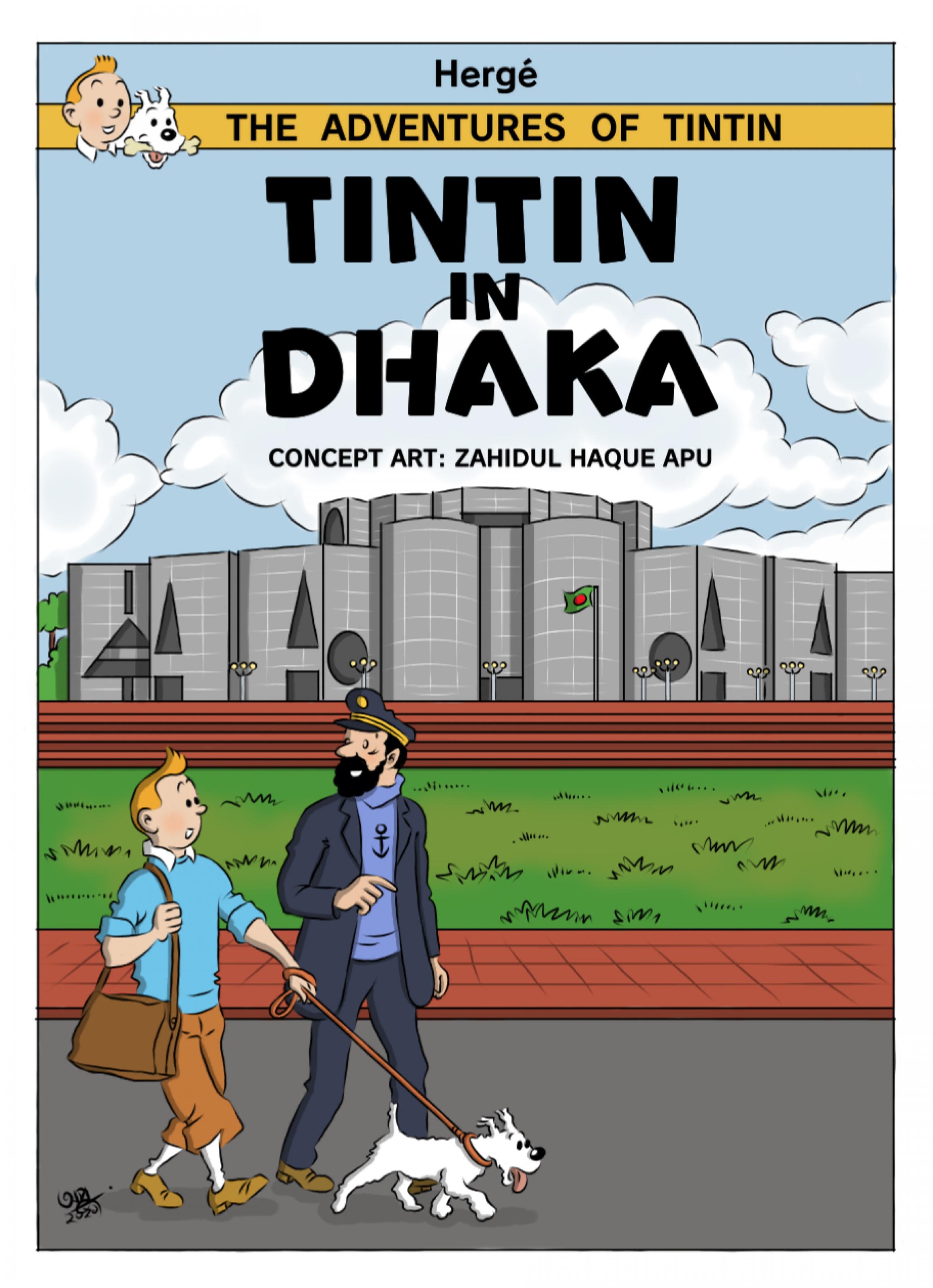 Cover art of character Tintin in Dhaka, Bangladesh