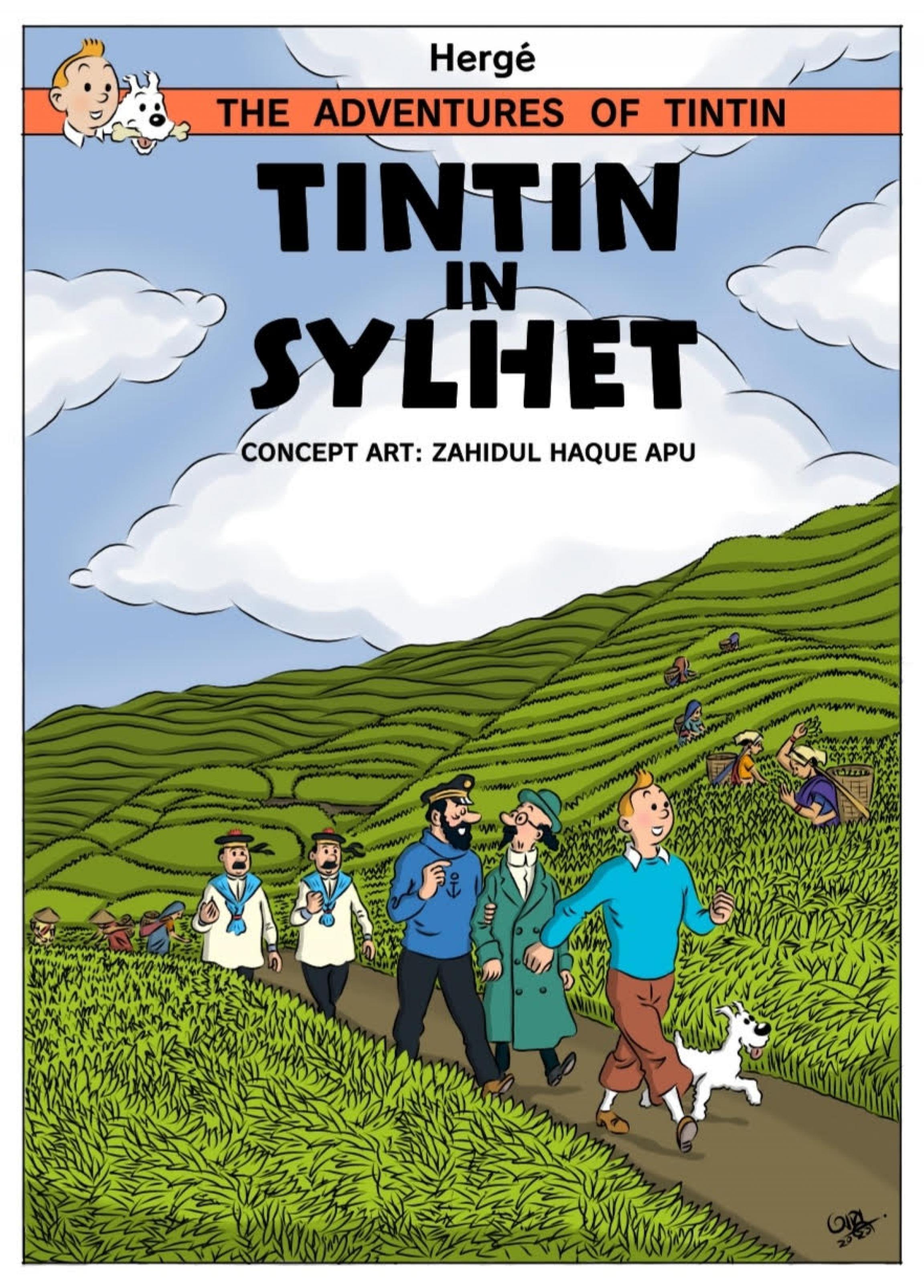 Cover art of character Tintin in Sylhet, Bangladesh