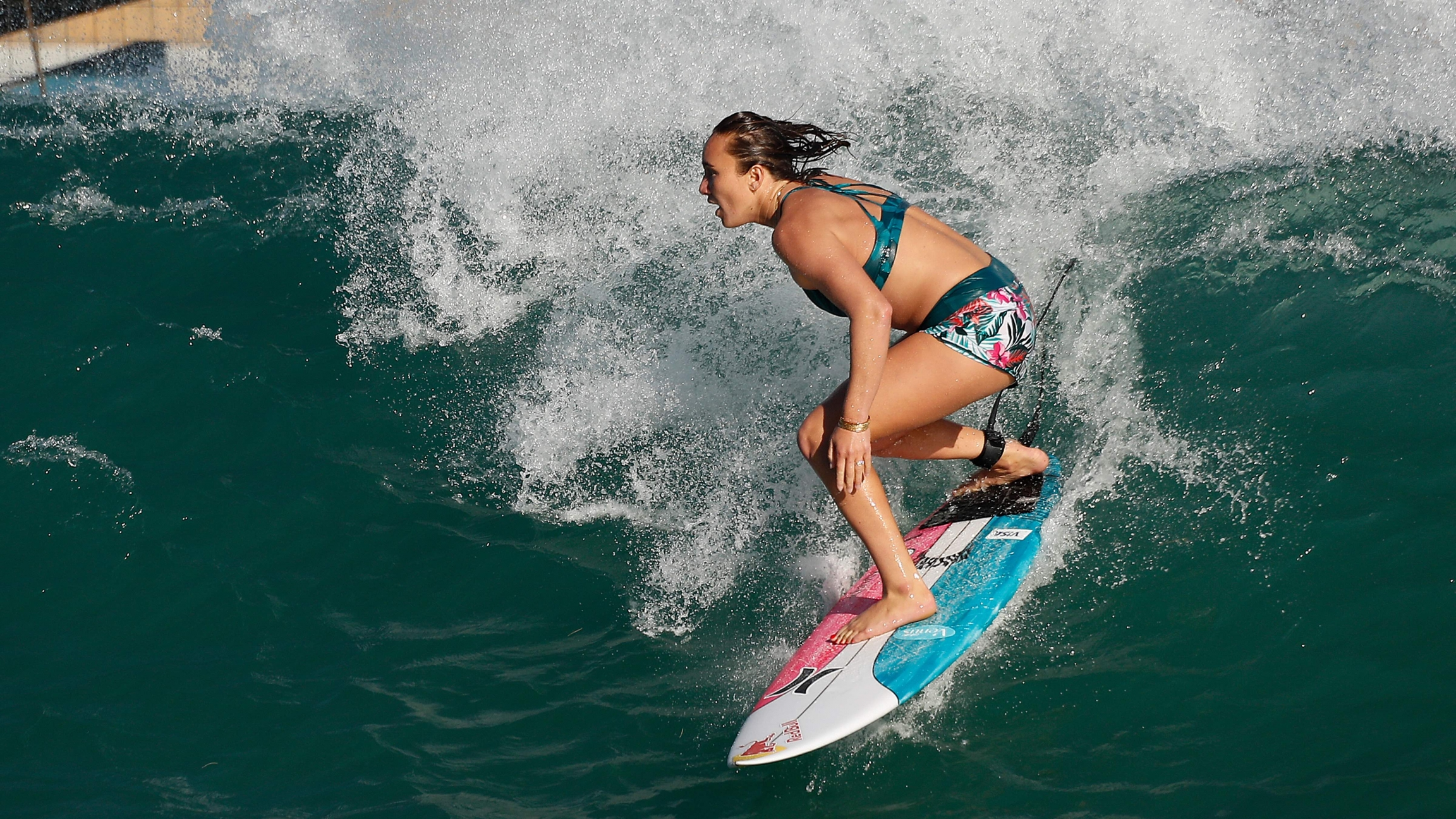 Team USA Hawaiian surfer Carissa Moore practices for a World Surf League competition at Surf Ranch on Tuesdayin Lemoore, California, on June 15, 2021.