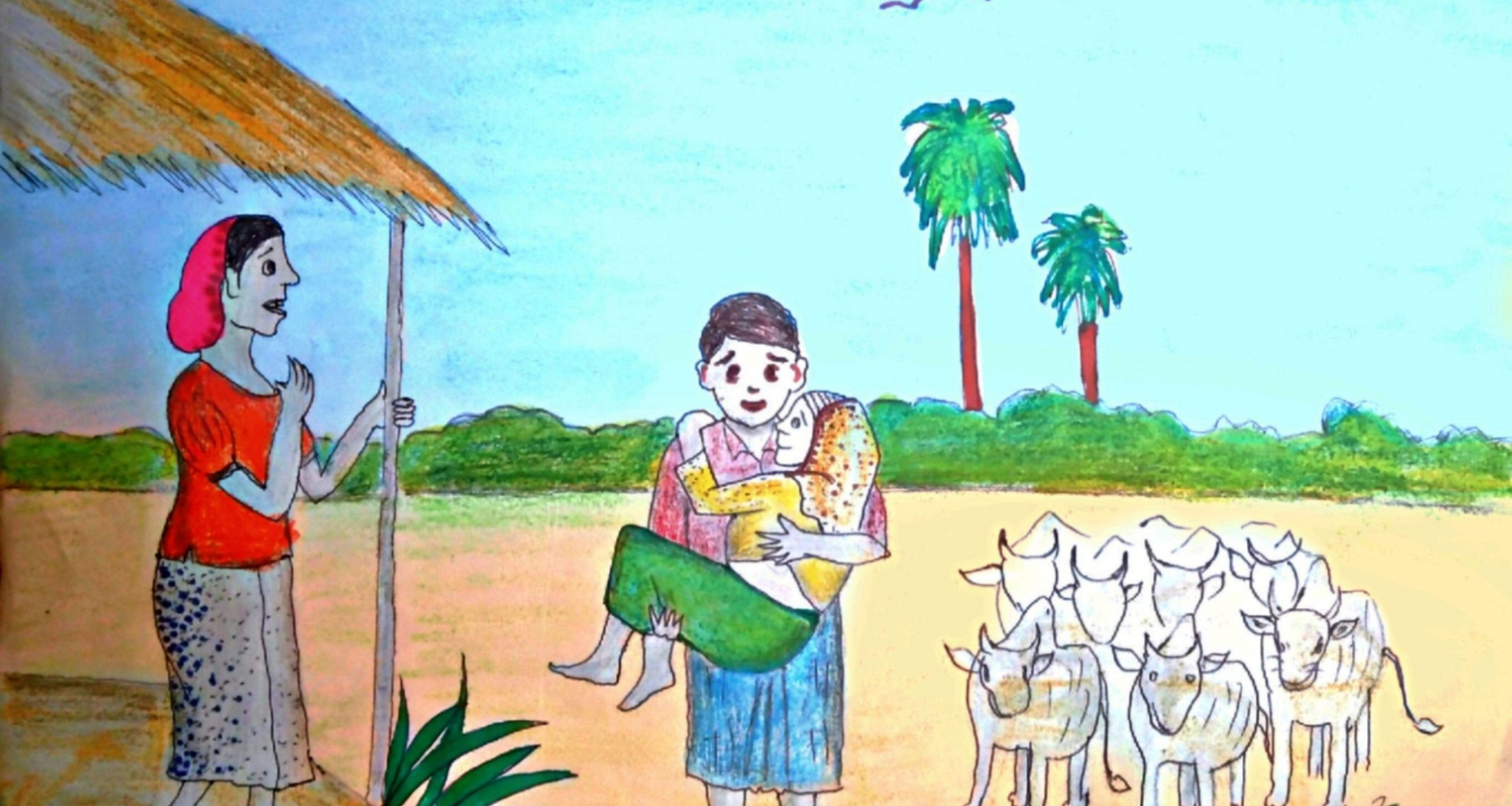 """""""The Blind Mother,"""" an illustration by Mayyu Khan, a Rohingya artist living in Kutupalong Refugee Camp, from """"Rohingya Folk Tales"""" by Mohammed Rezuwan."""