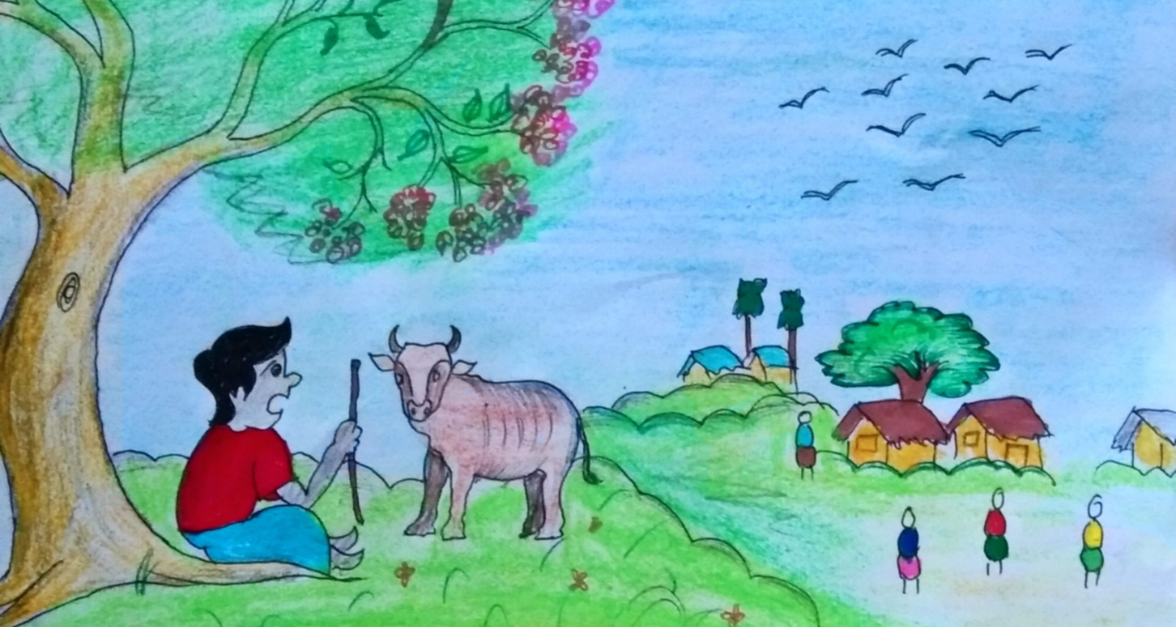 A drawing of a village scene with a person wearing a red shirt and a pig.