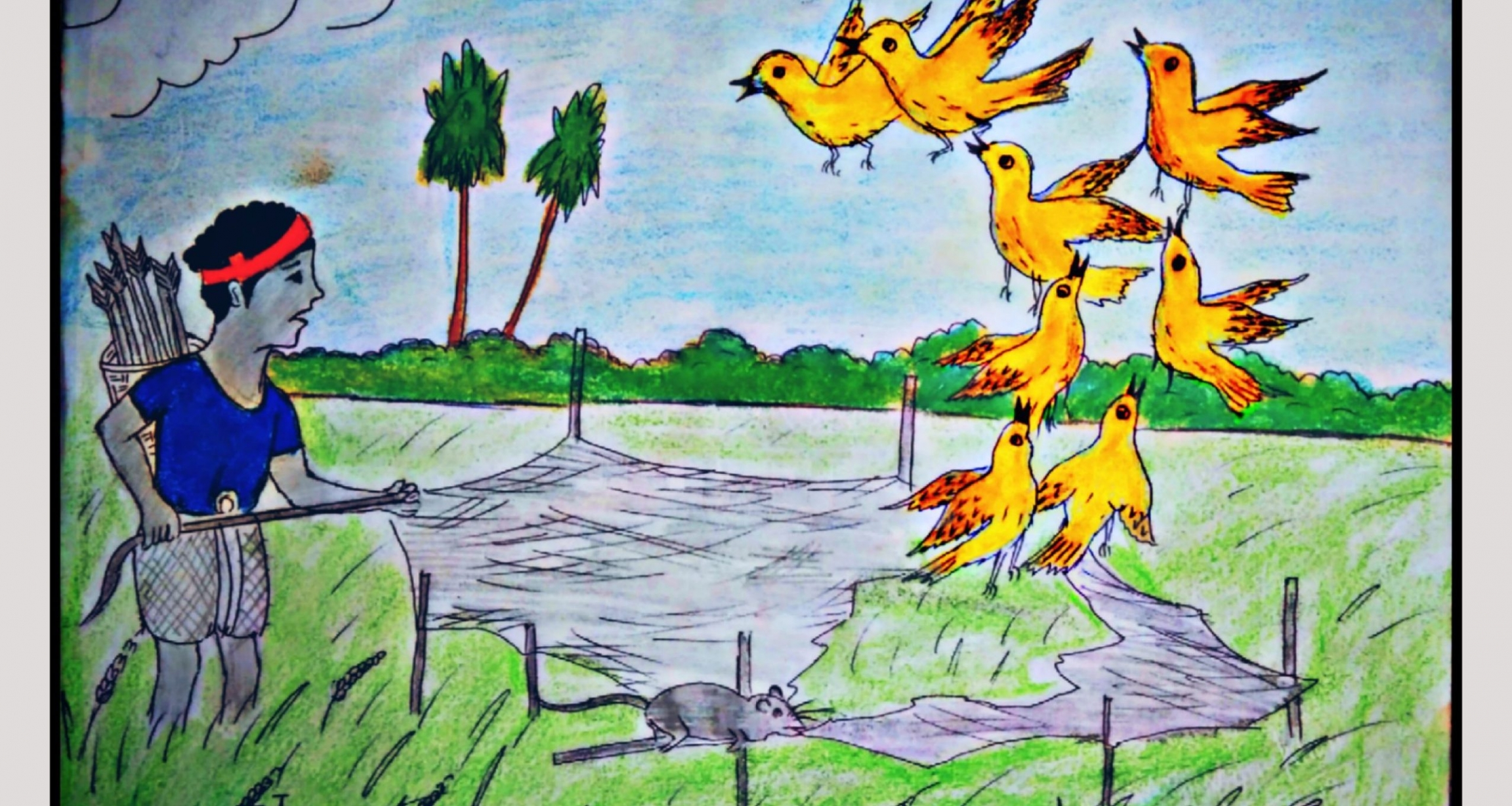 A drawing of a man and a group of yellow birds.
