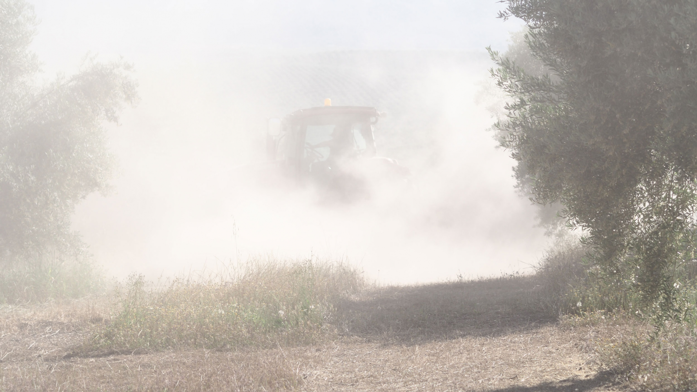 Topsoil dust kicks up from a tractor.