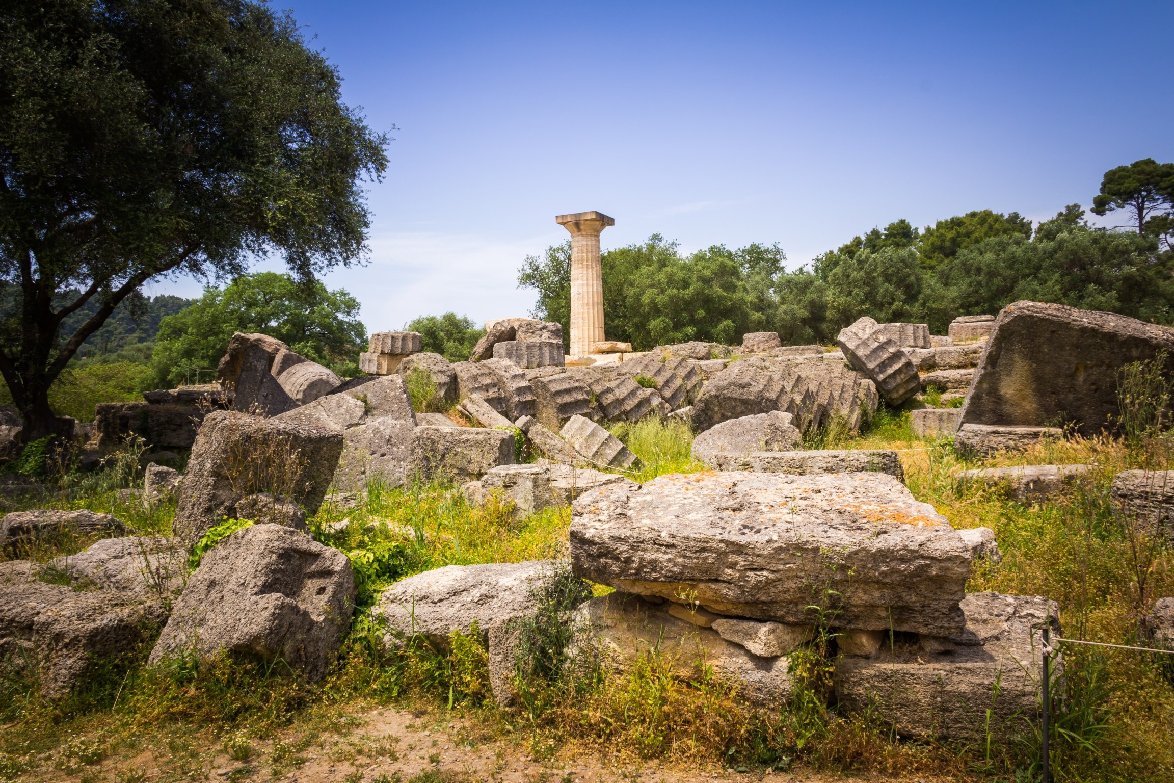 The remains of the Ancient Temple of Zeus at Olympia.