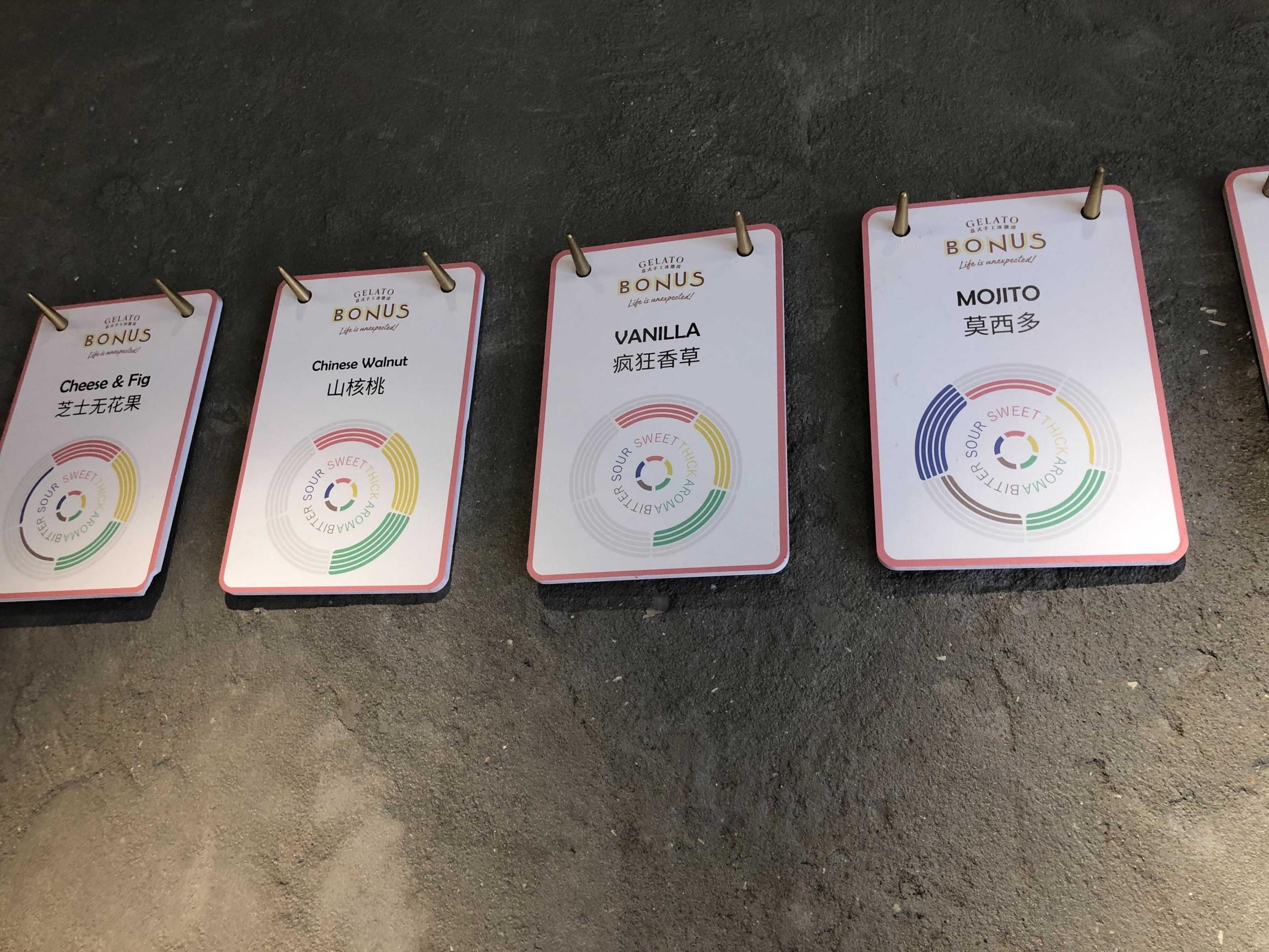 Placards of ice cream flavors at Gelato Bonus in China