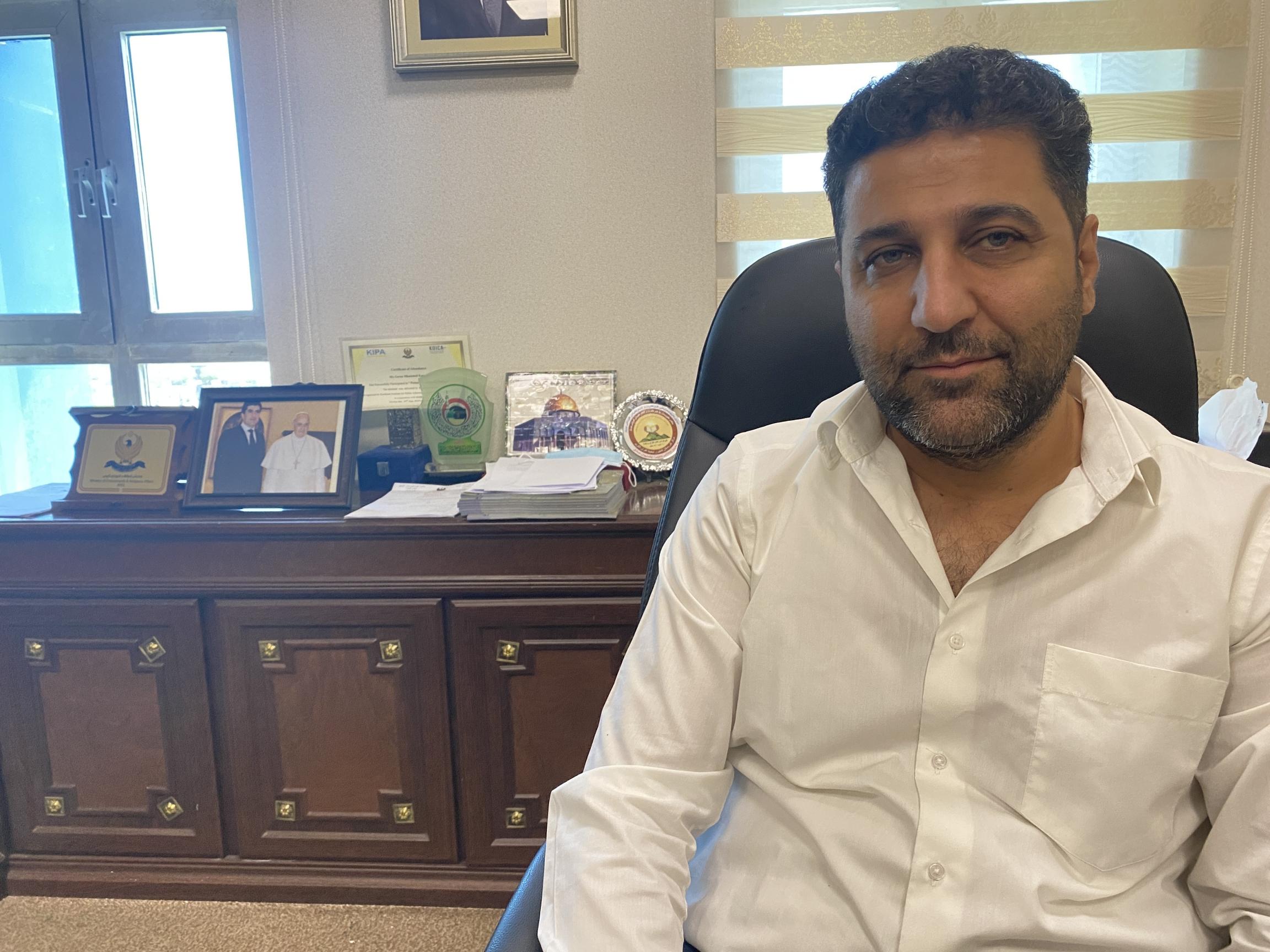 Goran Mohammed Karim if his office in Erbil, Iraq.