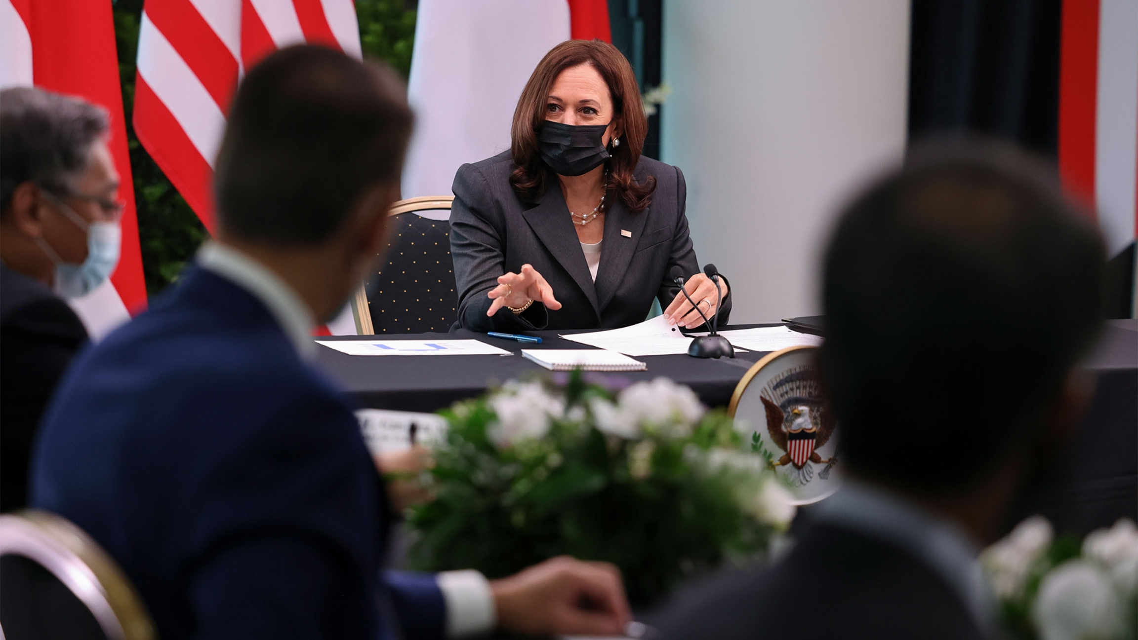 USVice President Kamala Harris takes part in a roundtable at Gardens by the Bay in Singapore