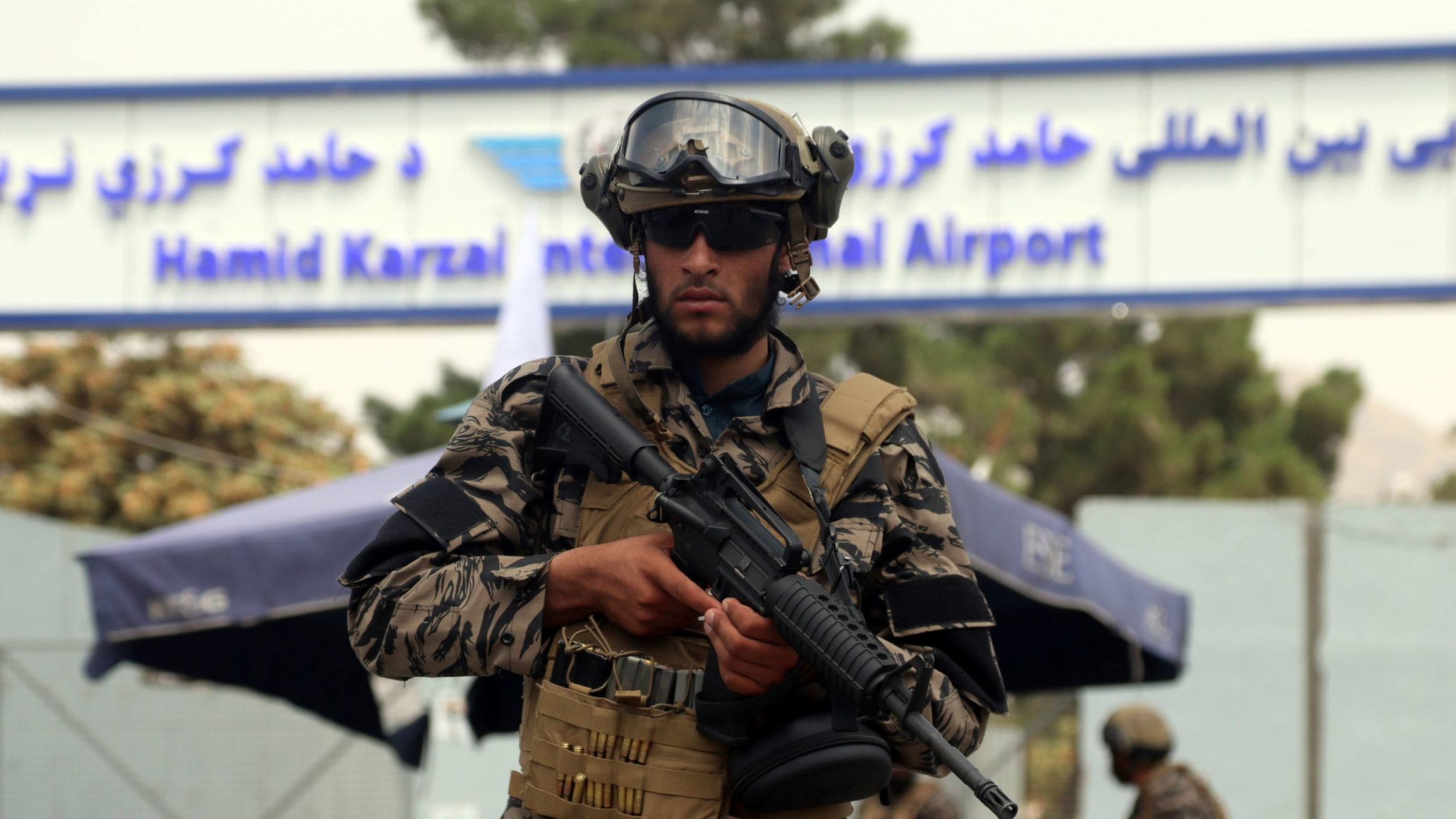 Taliban special force fighters stand guard outside the Hamid Karzai International Airport after the US military's withdrawal, in Kabul, Afghanistan, Tuesday, Aug. 31, 2021.