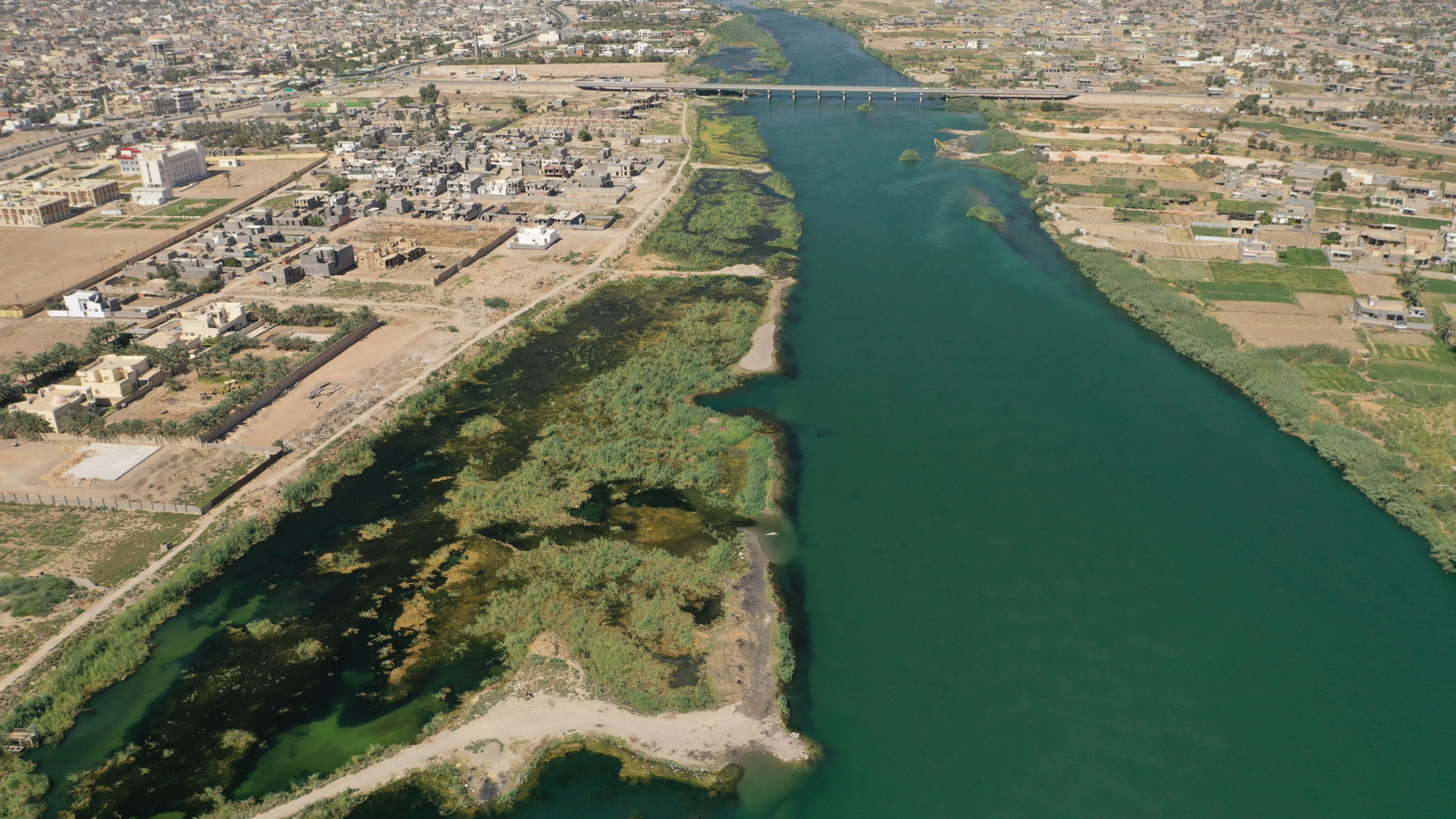 From Anbar, Iraq, an aerial view of the Euphrates river, August 2021.