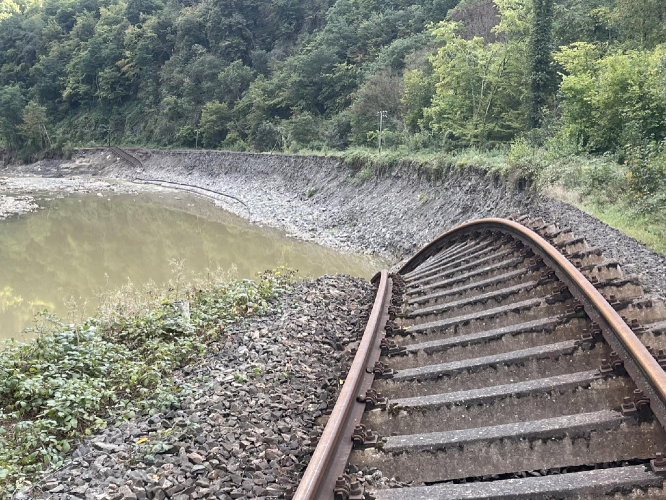 railway careening into the water