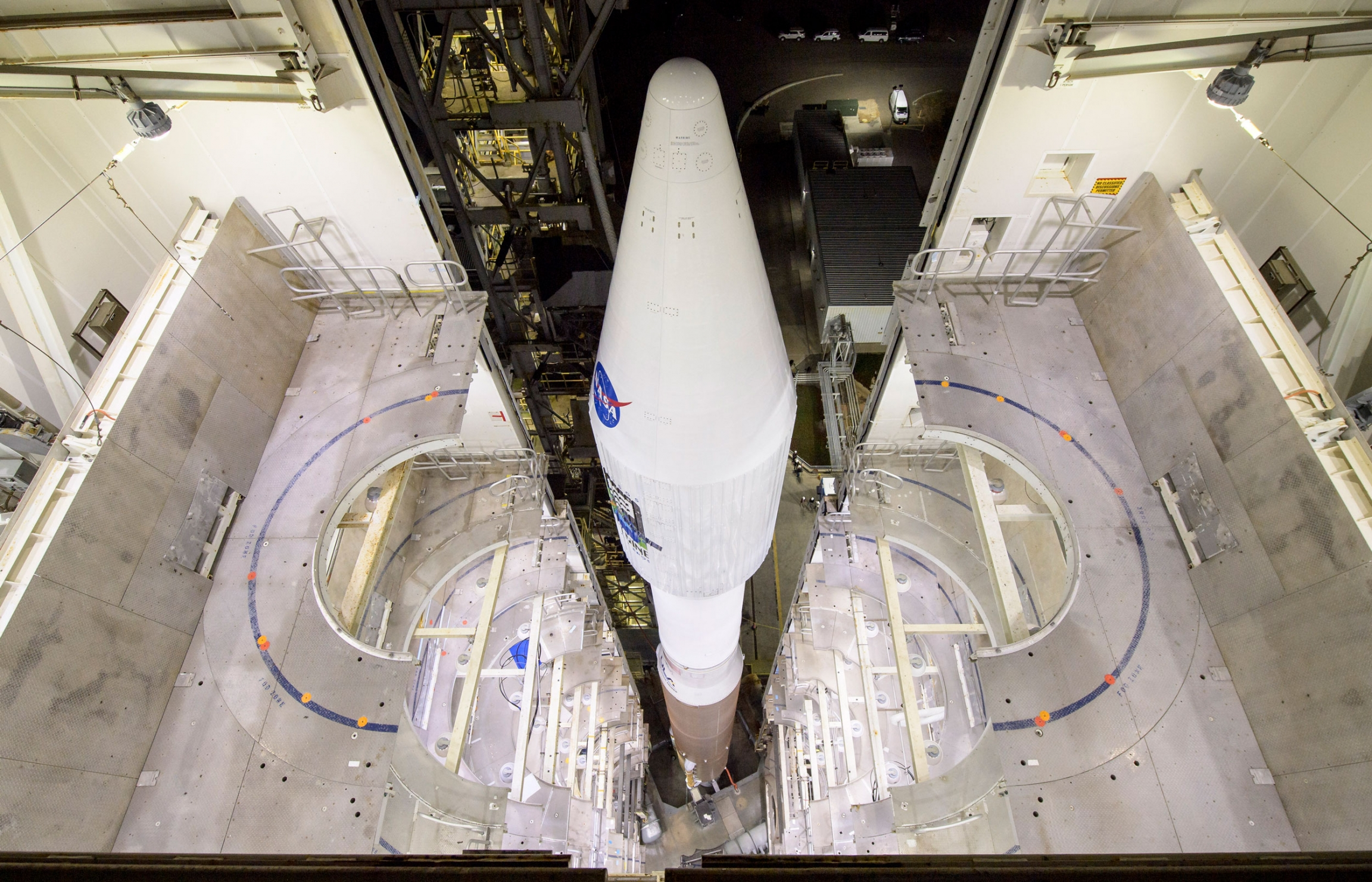 This photo provided by NASA shows the United Launch Alliance Atlas V rocket with the Landsat 9 satellite onboard at Vandenberg Space Force Base, California, on Monday, Sept. 27, 2021.