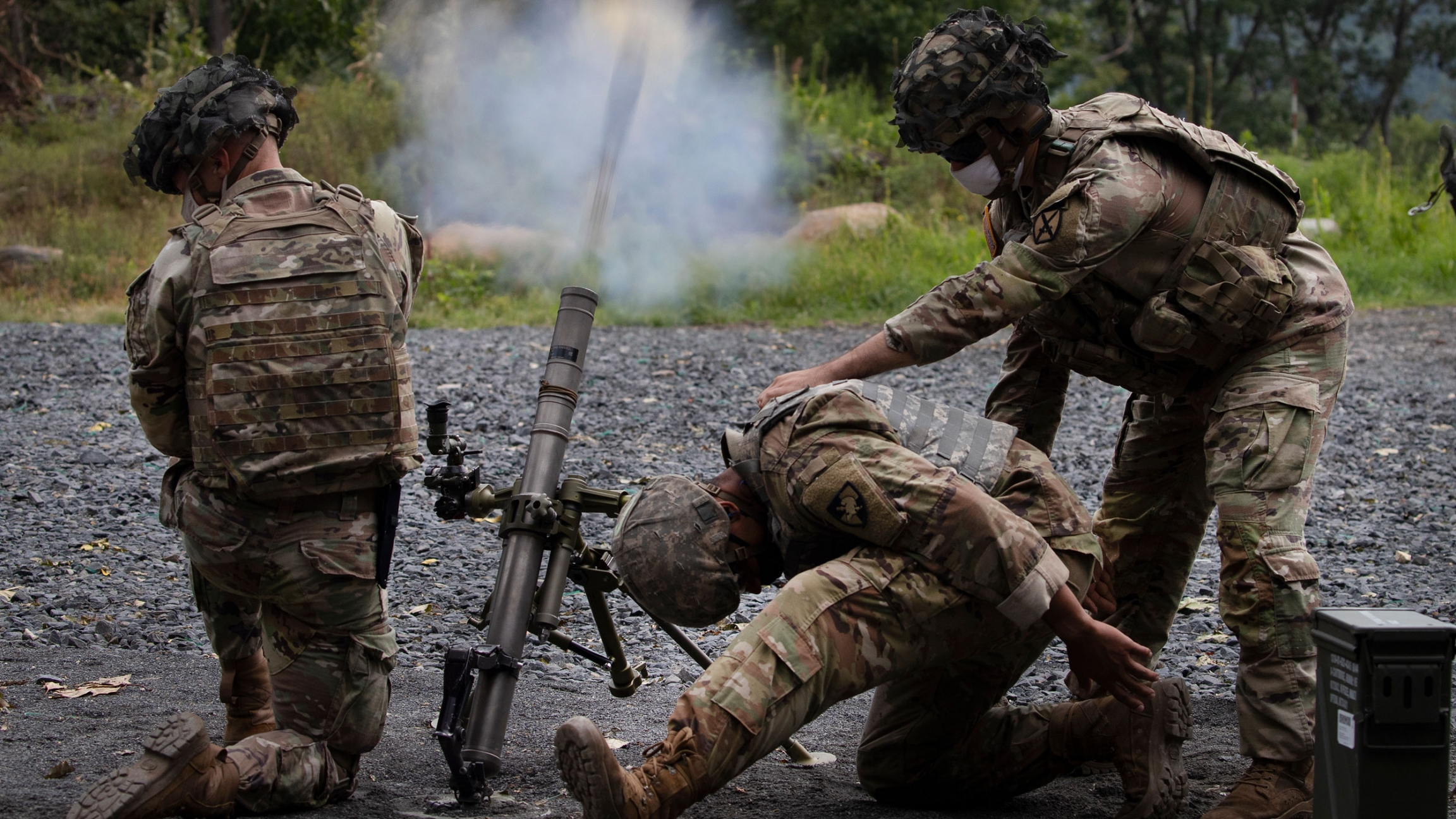 Cadets learn to fire mortars, Friday, Aug. 7, 2020, at the US Military Academy in West Point, New York.