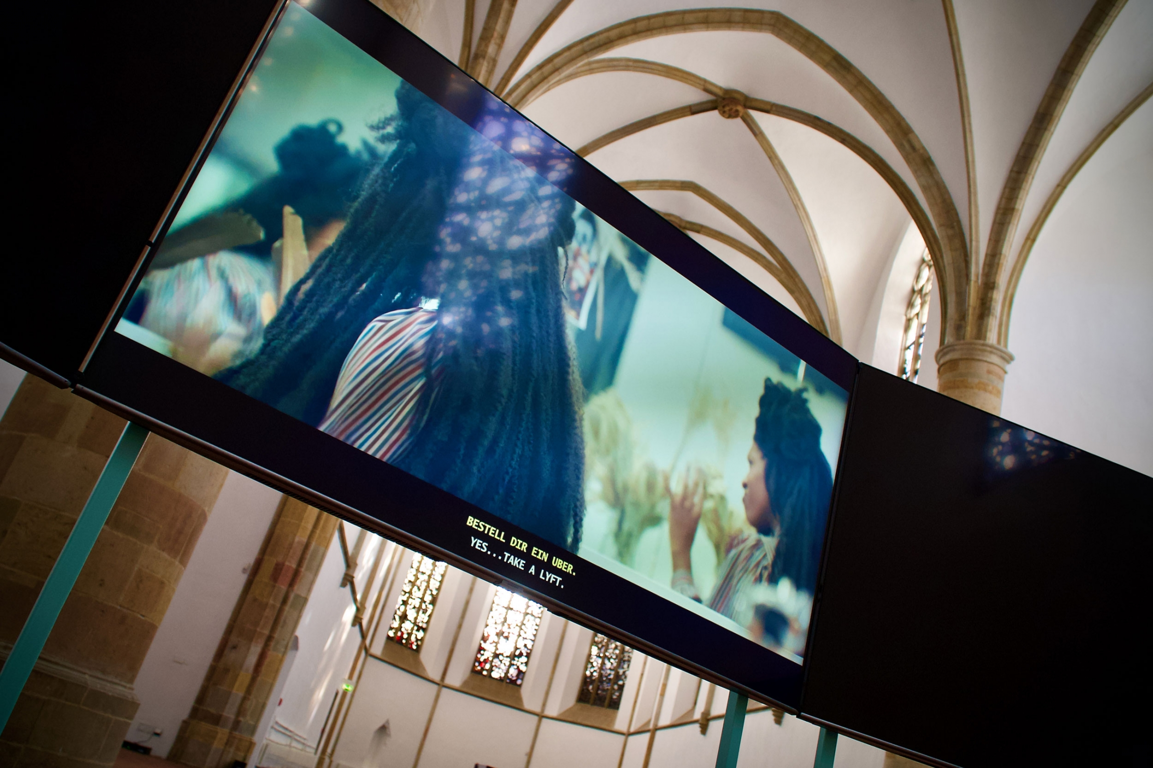 """A video installation appears in the the exhibit, """"I Felt People Dancing,"""" by Alison O'Daniel."""