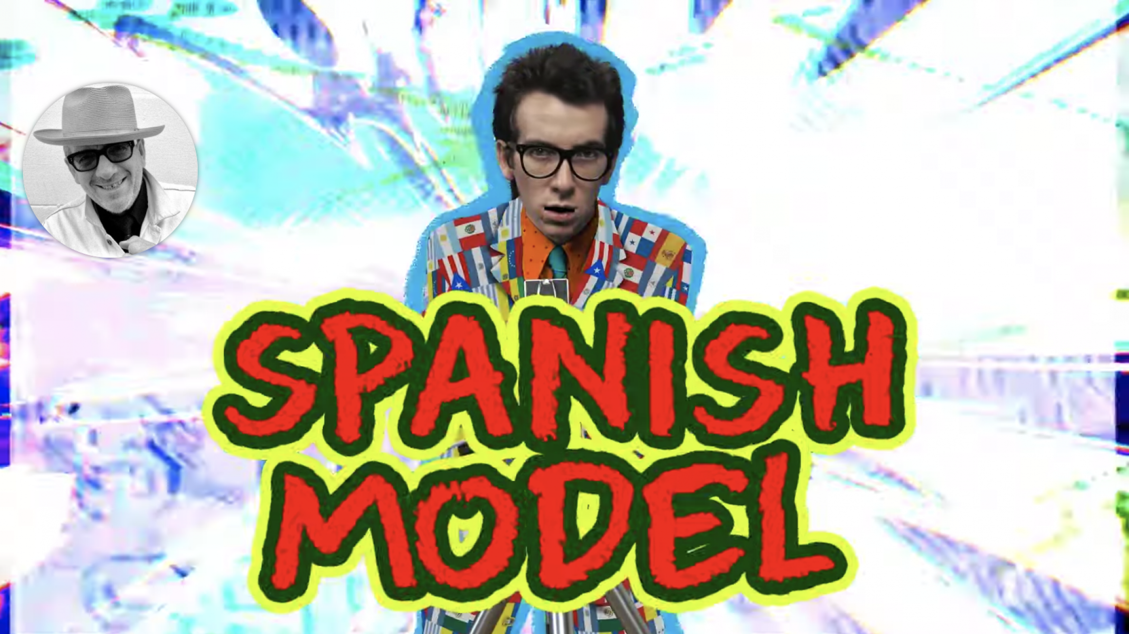 """A screenshoot of a YouTube video announcing Elvis Costello's new album """"Spanish Model."""""""