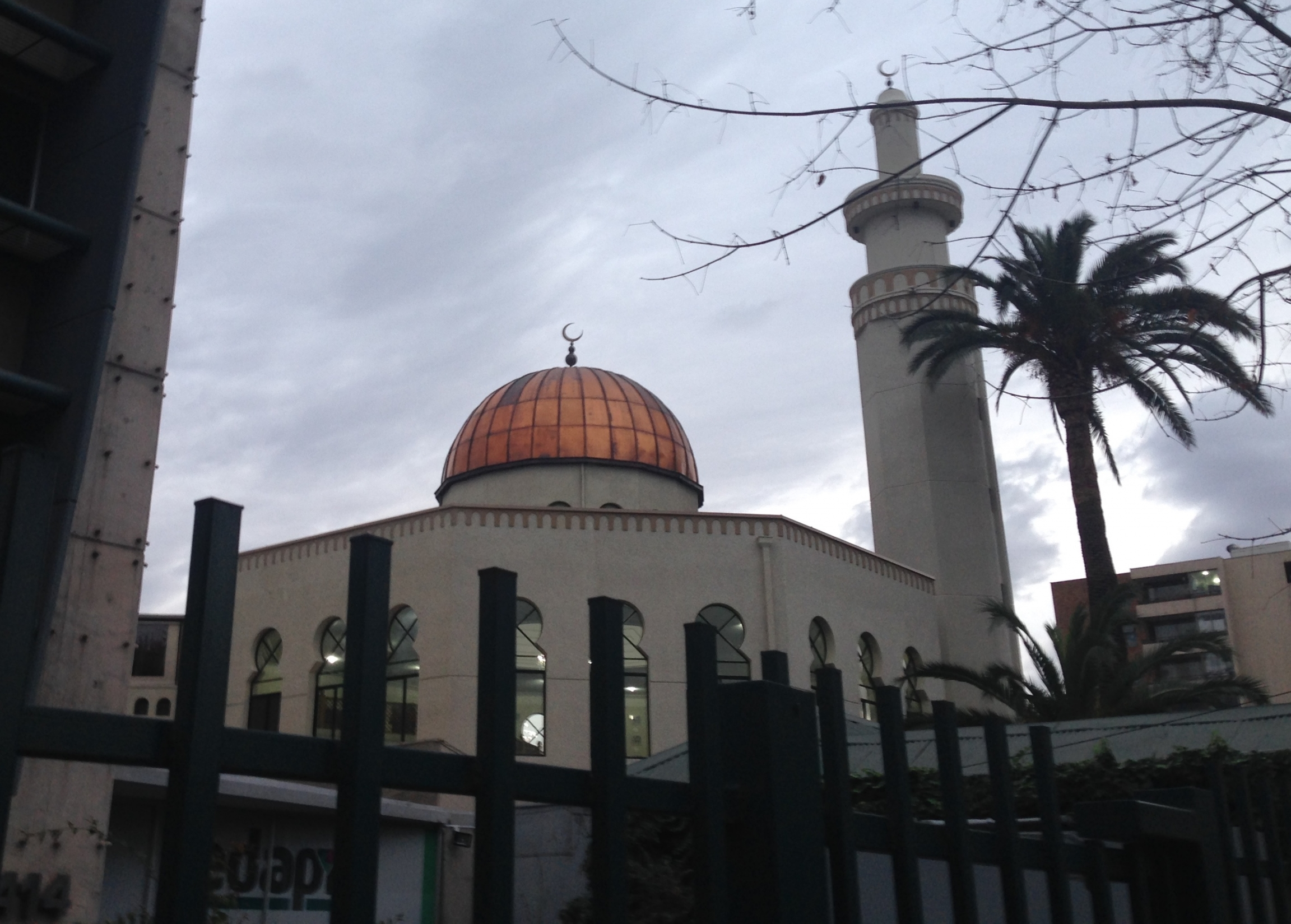 Exterior of the Mezquita as-Salaam mosque in Santiago, Chile, with a dome, minaret and palm tree