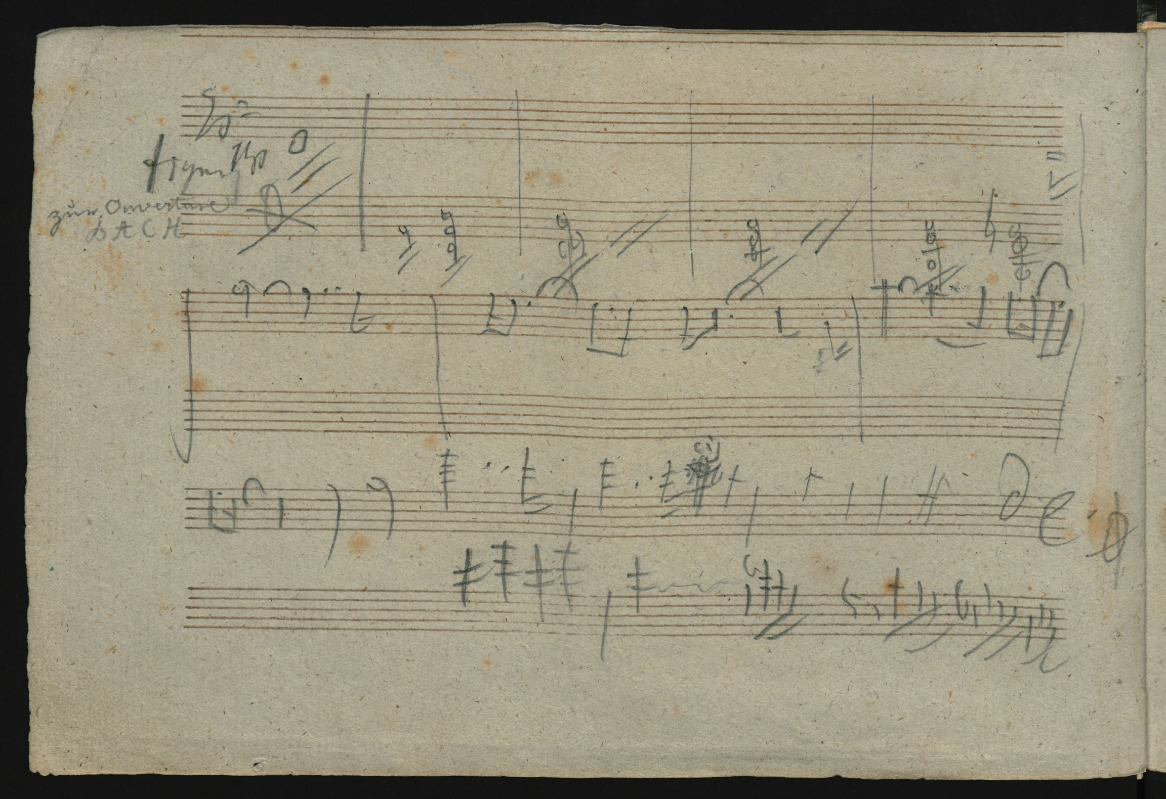 Manuscript score with musical notes jotted on it.