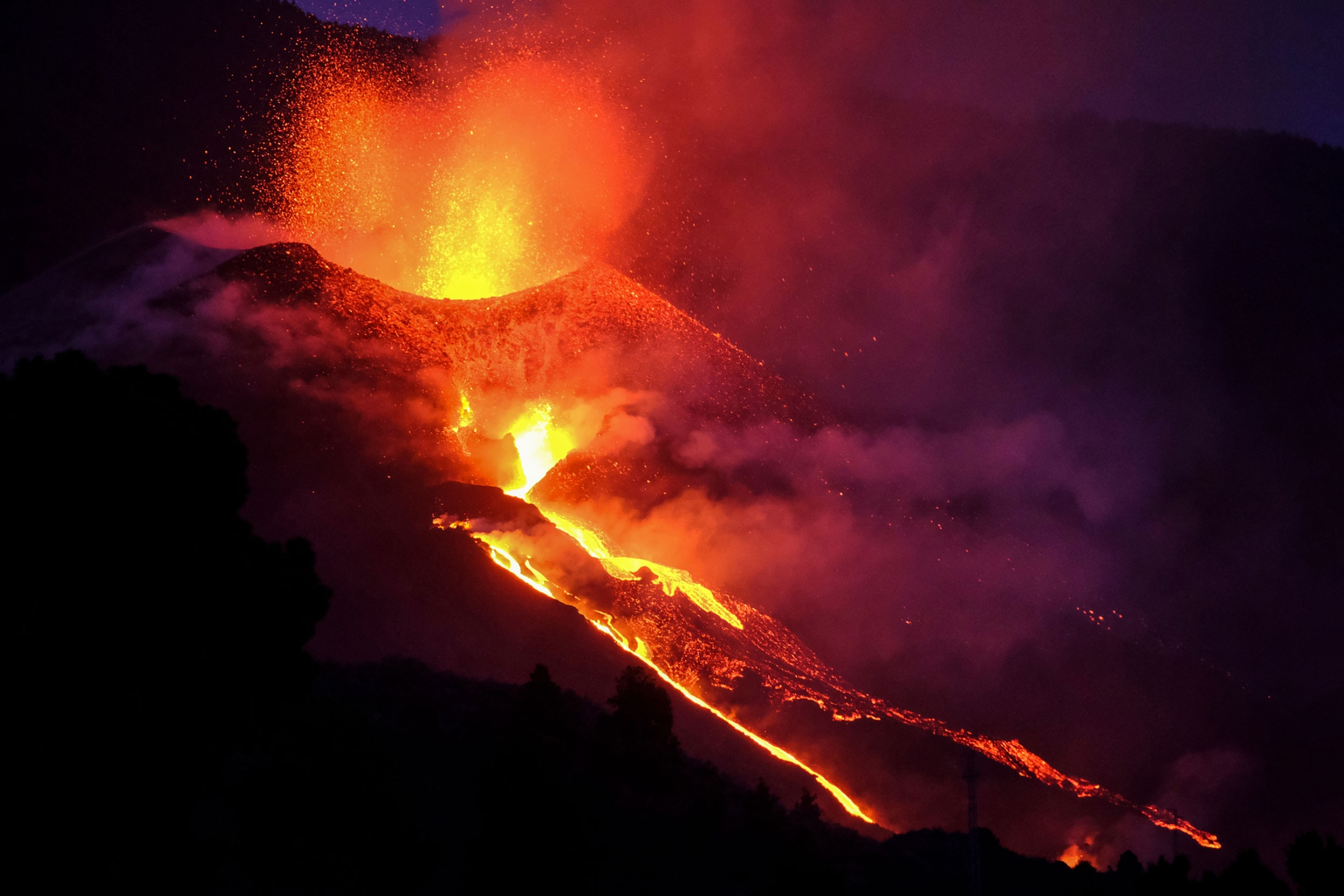Lava flows from a volcano on the Canary island of La Palma, Spain, Saturday Oct. 2, 2021.
