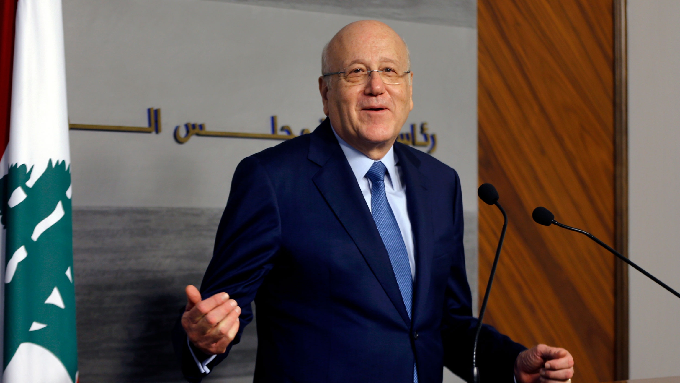 Lebanese Prime Minister Najib Mikati speaks during a joint press conference with his Jordanian counterpart Bisher Khasawneh, at the Government House in downtown Beirut, Lebanon, Thursday, Sept. 30, 2021.