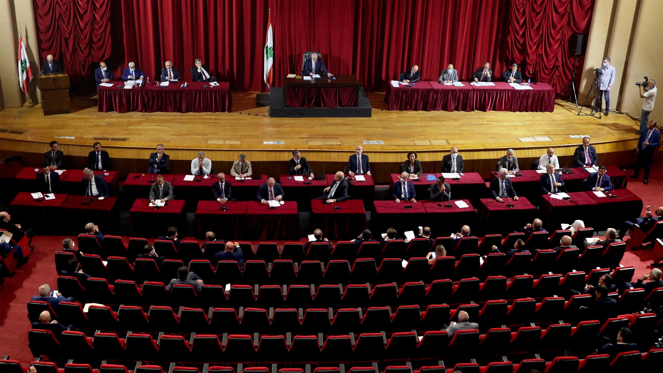 Wide shot of Lebanese parliament