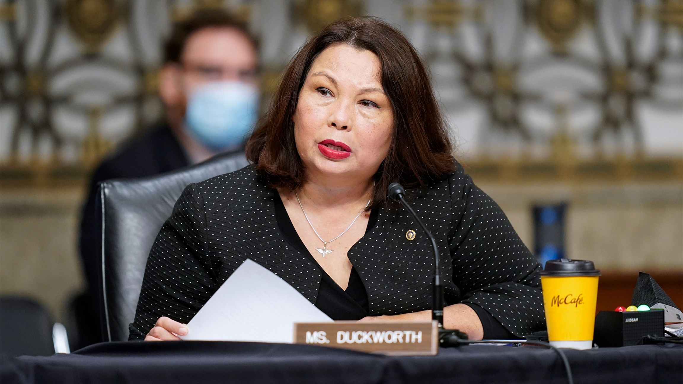 Democratic Senator Tammy Duckworth, from Illinois, speaks during a Senate Armed Services Committee hearing on the conclusion of military operations in Afghanistan and plans for future counterterrorism operations on Capitol Hill in Washington