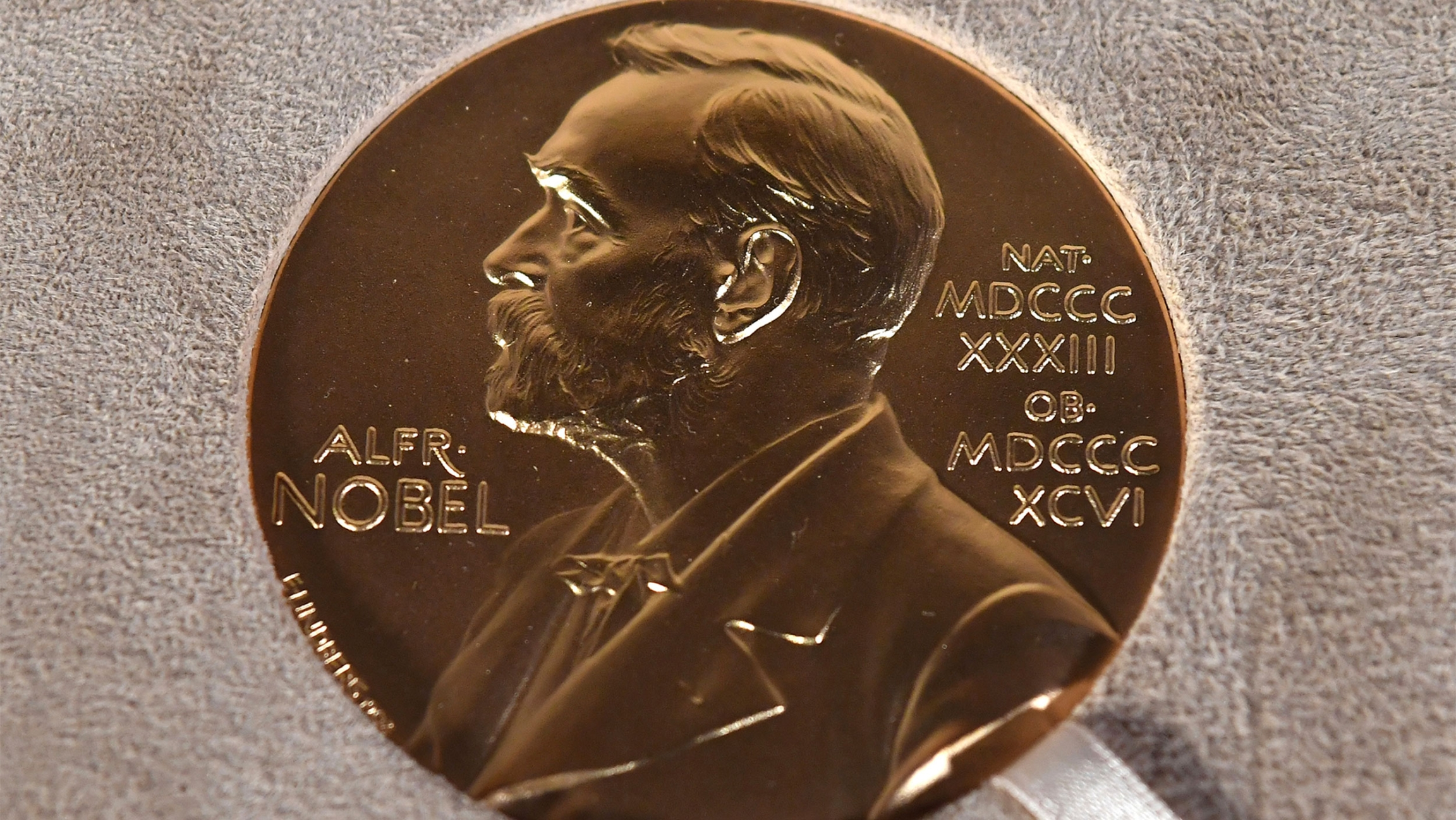Photo of a Nobel medal displayed during a ceremony in New York