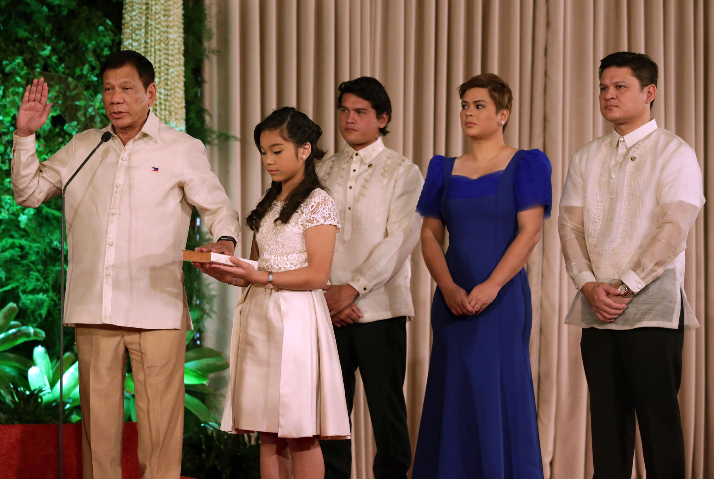 Sara Duterte pictured here during her father's swearing-in ceremony as president of the Philippines.