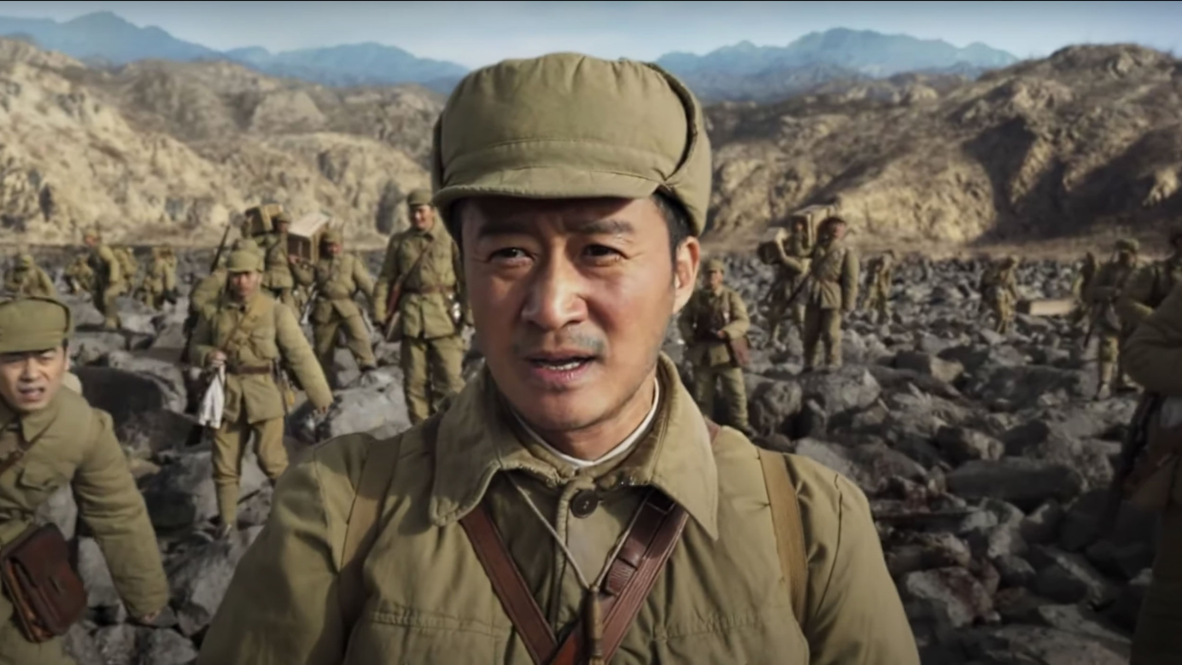"""Screenshot of a soldier from the war epic """"Battle at Lake Changjin"""""""