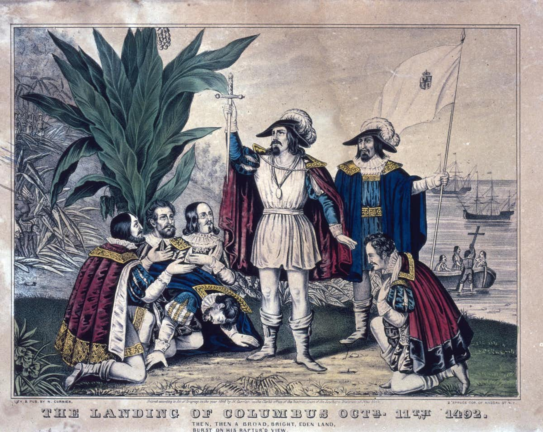 A painting of Christopher Columbus landing in America.