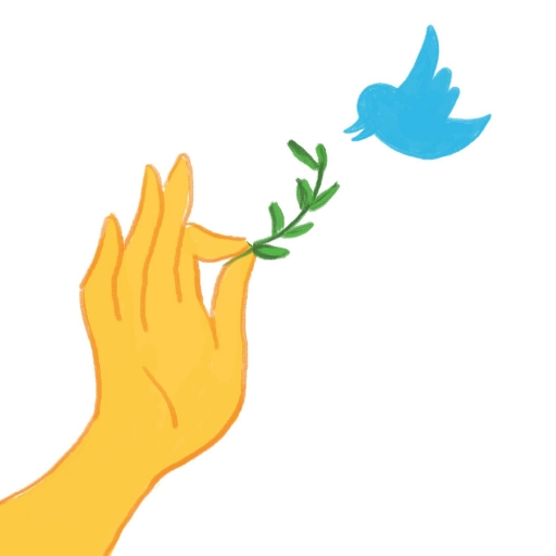 Artistic rendition of a hand in Buddhist hand gesturing reaching out with vine to bird, in shape of the Twitter logo