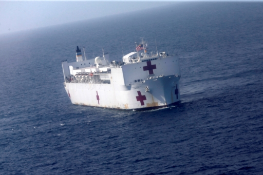 the USNS Comfort on the ocean