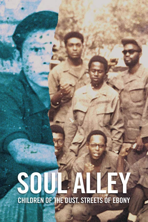 "A promotional image for the documentary shows a half-image of African American GIs and a half-image of a young child with the words ""Soul Alley"" on it."