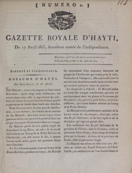 An April 1815 issue of The Gazette Royale details how the Kingdom of Hayti foiled France's attempt to reconquer its former colony.