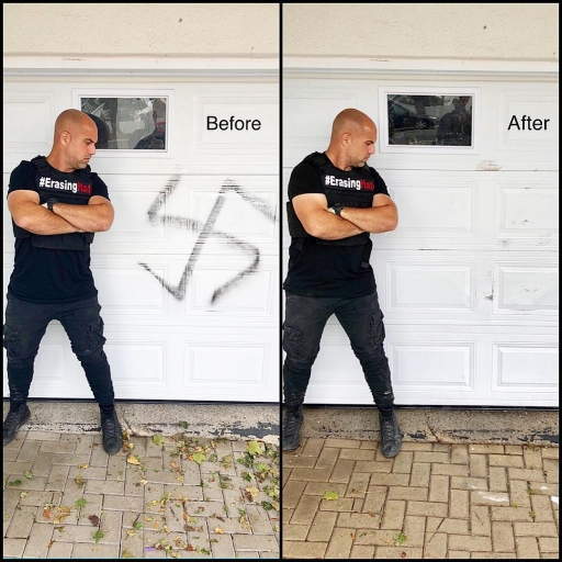 A before and after photo of Corey Fleisher standing in front of a white door. On the left, he looks at a spray-painted swastika on the door. On the right, he looks at a clean white door.