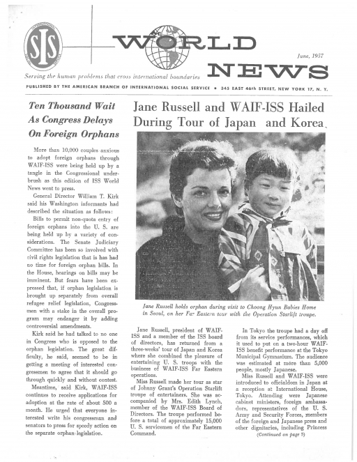 A newsletter cover with text and an image of a white woman holding a young Korean child