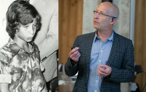 On the left, a black and wire picture of a young boy; on the right is a man wearing a suit giving a talk