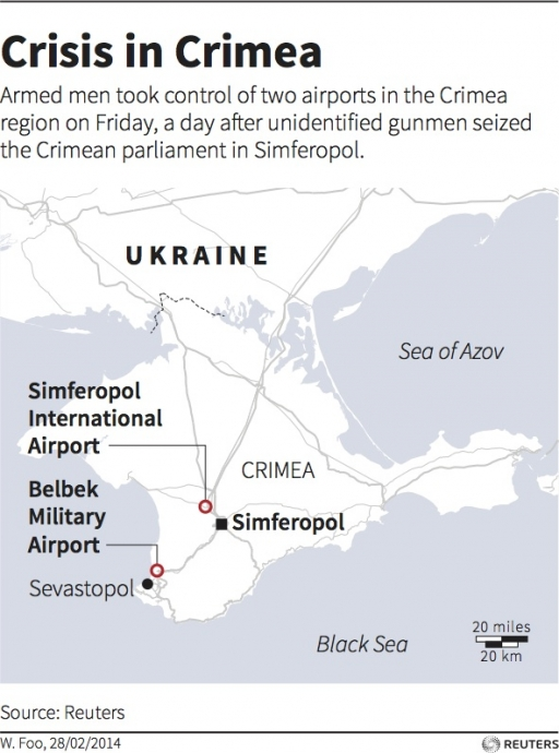 Map of the Crimea region in Ukraine locating the airports that were seized by gunmen in Feb. 2014