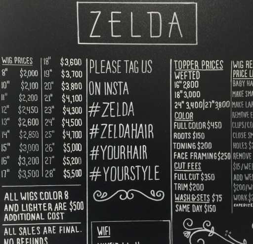 zelda black and white price board with hashtags