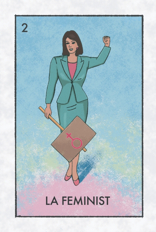 "An illustrated card depicting a woman carrying a protest sign with the text ""La Feminist"""