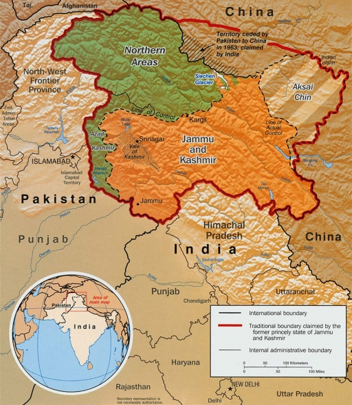 A map showing the internal divisions of Kashmir.