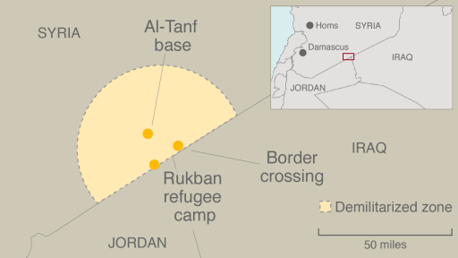 A map shows the location of Rukban refugee camp on the border between Syria and Jordan