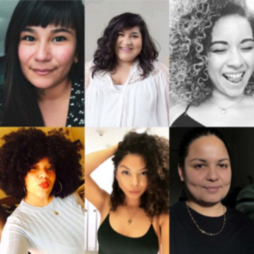 A collage of six women