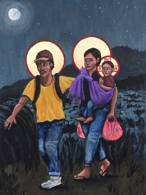 Latinx man, woman and child in modern clothes painted in the style of iconography