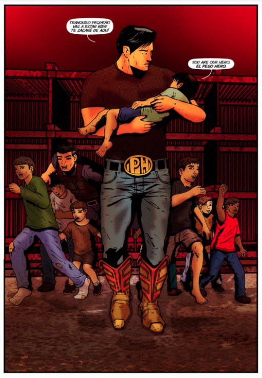 Comic book panel of a man holding a child with other children behind them.