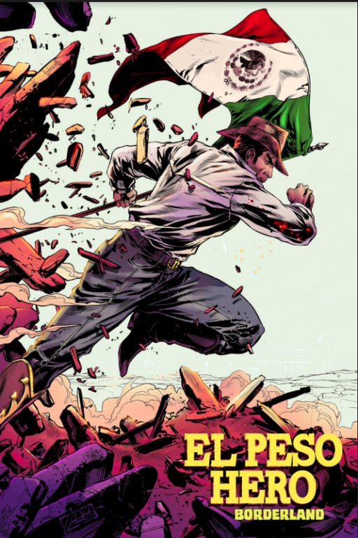 A comic superhero running with a Mexican flag behind him
