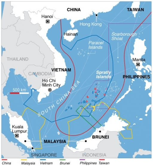 map of South China Sea disputes