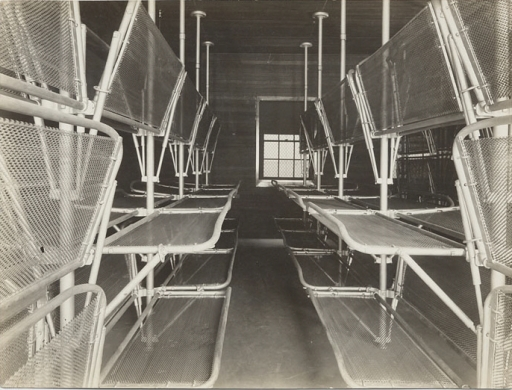 A black and white photo of racks of metal cots.