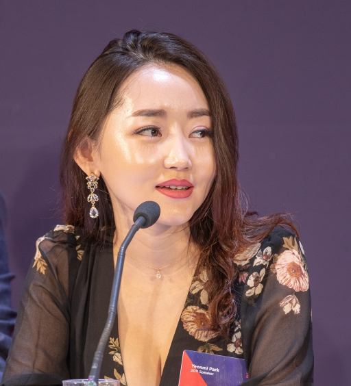 Yeonmi Park speaking at the 2018 Oslo Freedom Forum