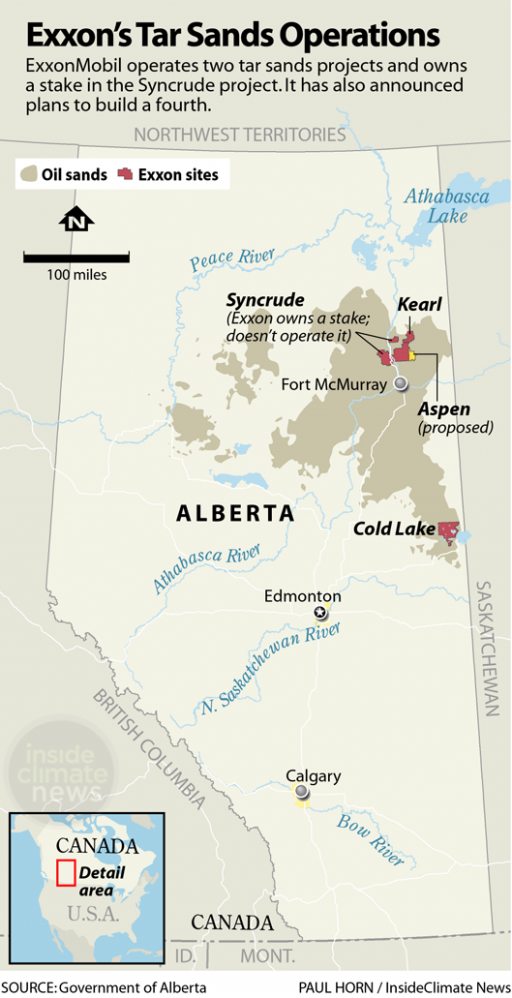 A map of Alberta, Canada, marking tar sands